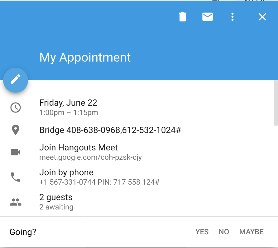 Disable video call / Hangout links for new appointments